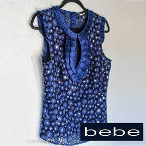 BEBE Night Sea Blue Sequin Eyelet top